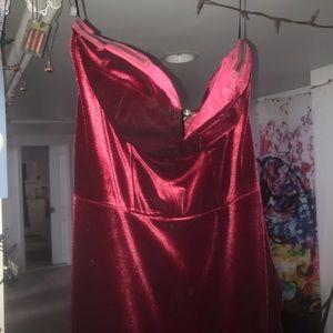 Yumi Kim Dresses - Red velvet slit dress